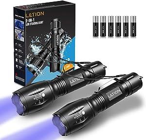 LETION UV Flashlight Black Light 2 in 1 2 Pcs,UV Light LED Black Light flashlights with 500LM Highlight&4 Mode&Waterproof IPX 4 for Pet Clothing Food Fungus Detection/Night Fishing/Travel/Camping