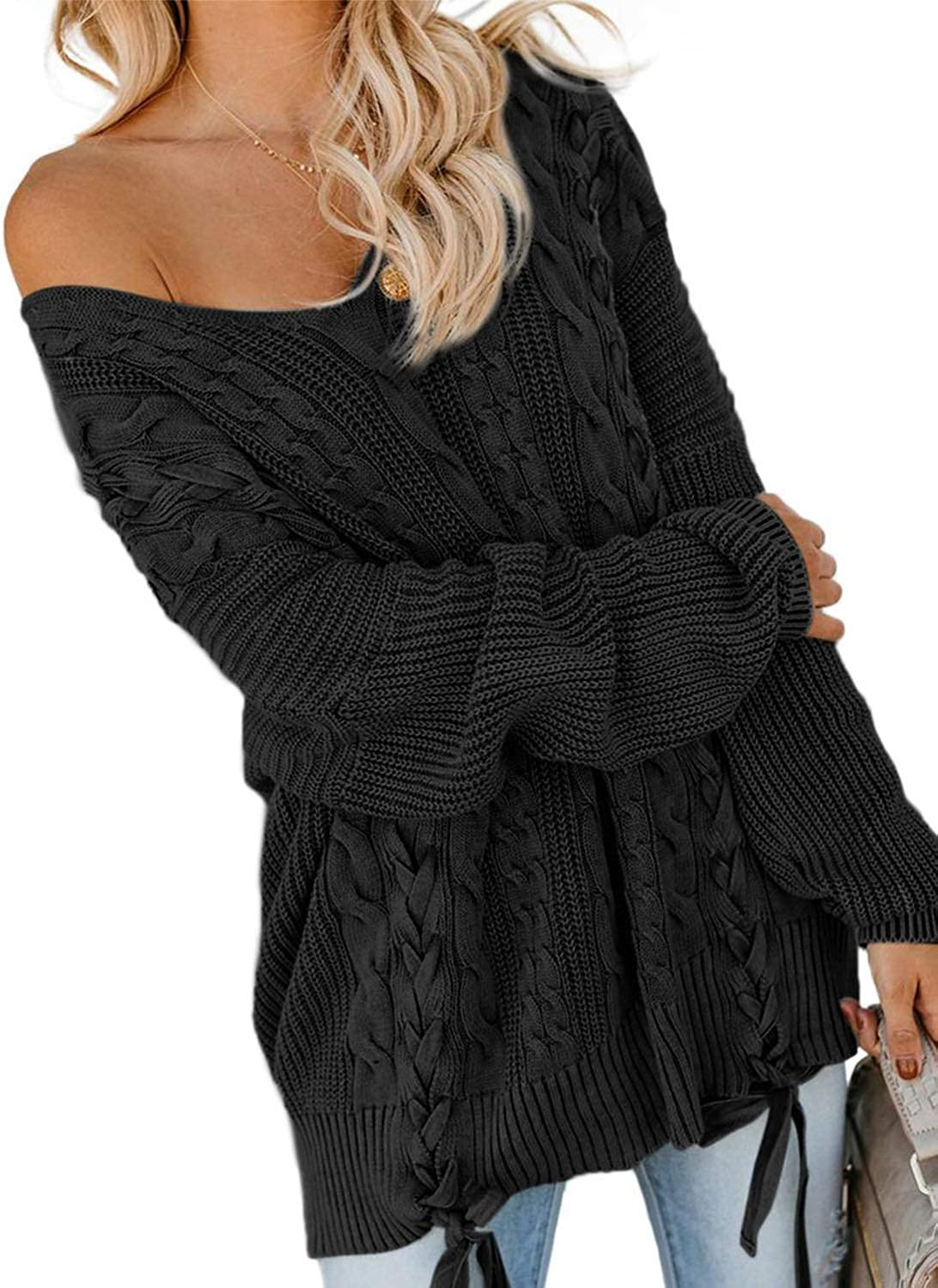 Zecilbo Women's Off Shoulder V Neck Colorado Springs Mall Sweater Lo Casual Cable Knit Max 50% OFF