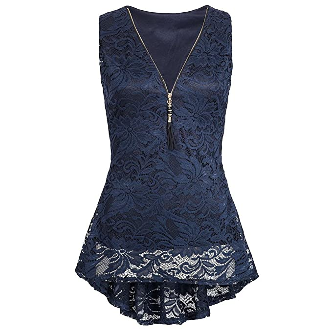 5d4200850 Women Summer T Shirt Solid Sleeveless Lace Tank Top Front Zip Up V-Neck  Vest Blouse: Amazon.ca: Clothing & Accessories