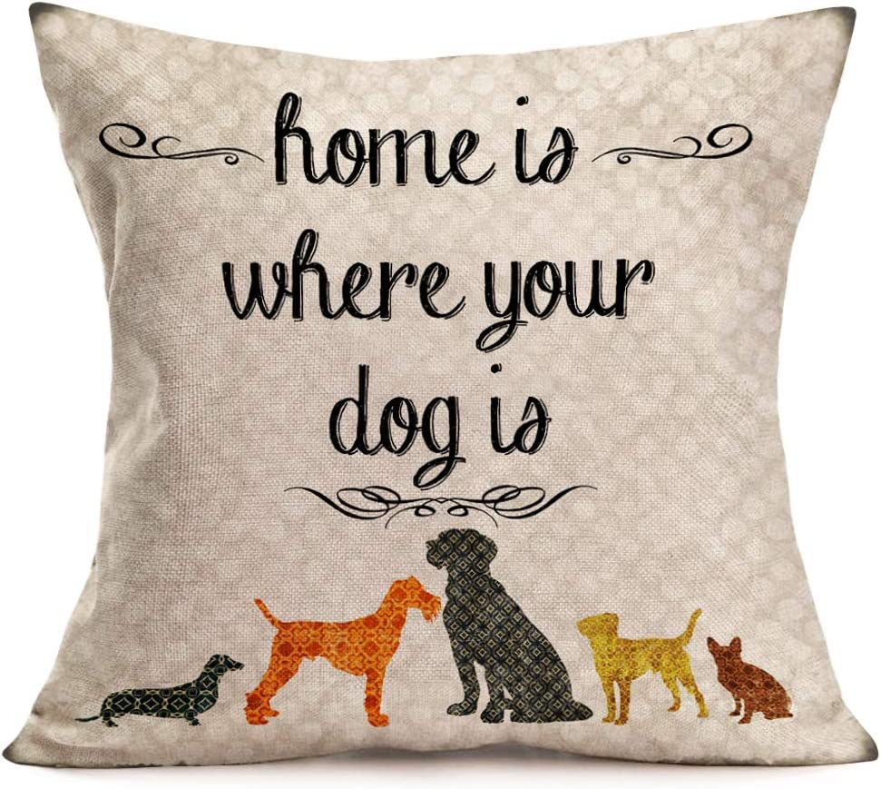 Asamour Inspirational Quotes Cotton Linen Throw Pillow Case Cushion Cover Warm and Healing Lettering Pillow Sham Home Sofa Decor Pillowcase 18''x18'' (Home is Where Your Dog is)