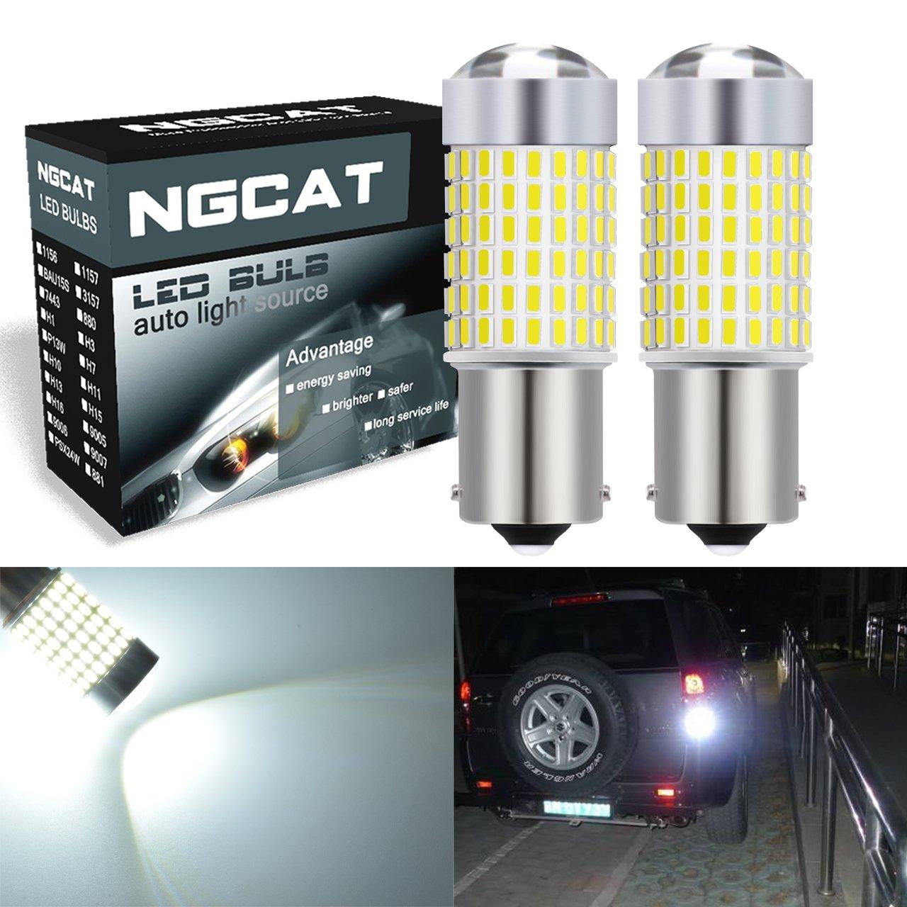 NGCAT Lot de 2 ampoules 1500 lumens 3014SMD 144-ex Chipsets 1156 BA15S 1141 1095 1073 7506 LED super lumineuses Pour vidé oprojecteur, phares de voiture Xenon Blanc 12– 24 V
