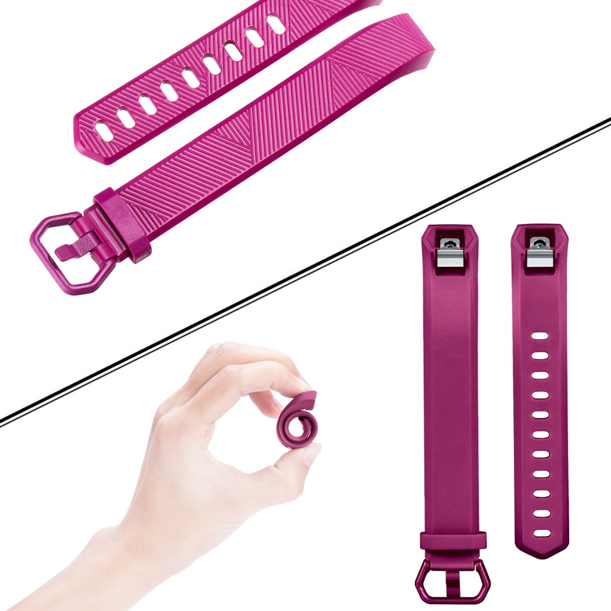 HUMENN For Fitbit Alta HR Strap Adjustable Replacement Sport Accessory Wristband Strap for Fitbit Alta//Alta HR Fitness Tracker Small Large Multi Colours