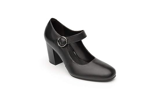 flexi - Mocasines de Piel para Mujer Negro Negro: Amazon.es: Zapatos y complementos