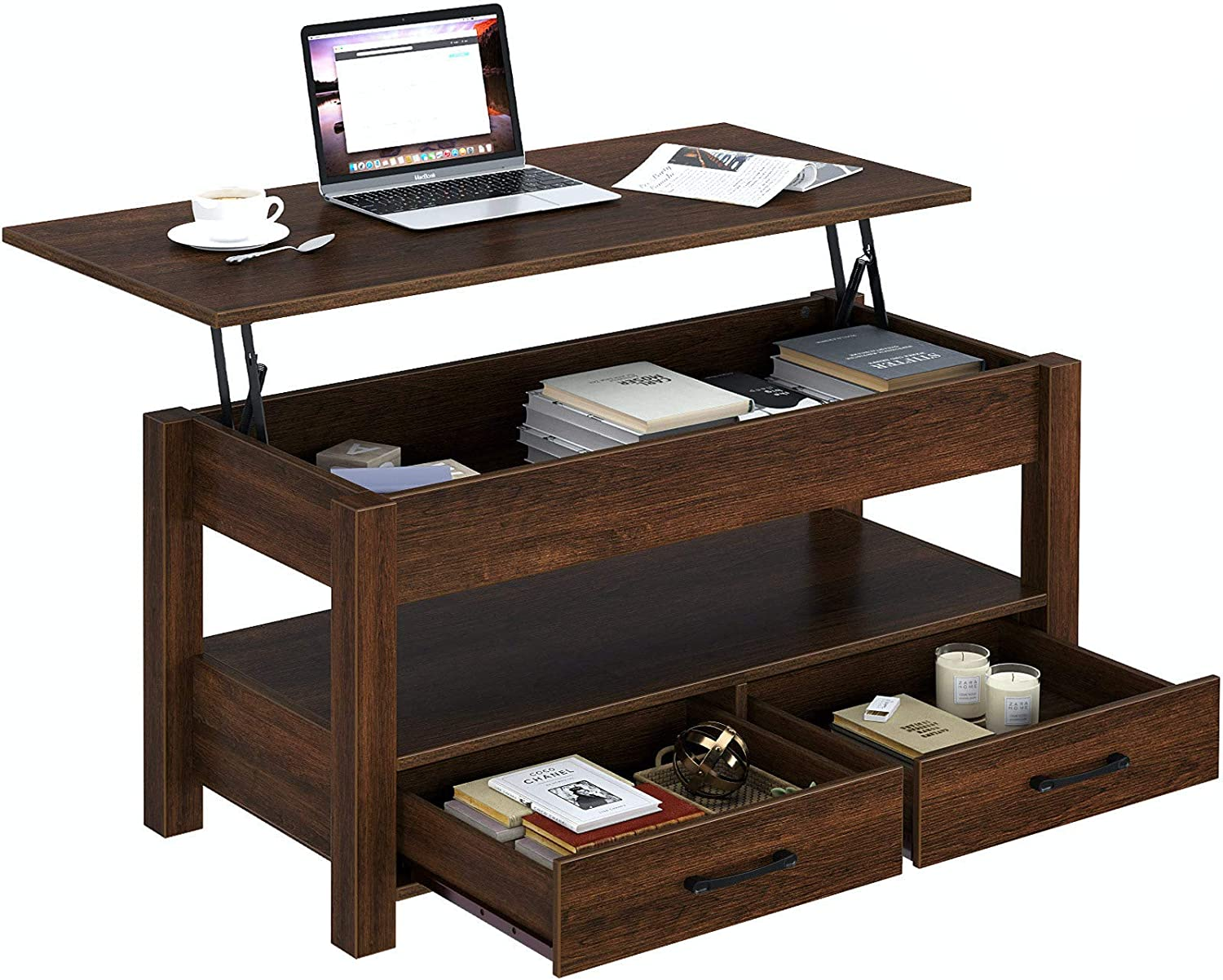 Rolanstar Coffee Table, Lift Top Coffee Table with Drawers and Hidden Compartment, Retro Central Table with Wooden Lift Tabletop, for Living Room, Espresso