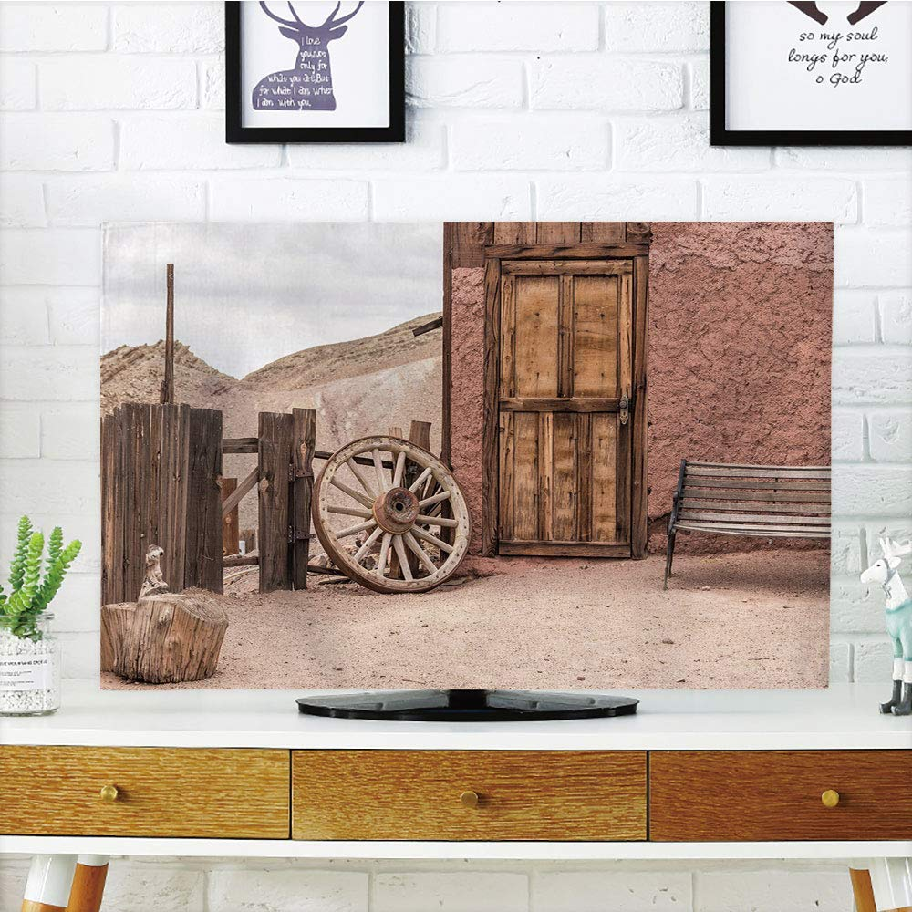 YCHY LCD TVカバー ラブリー、バーンウッドワゴンホイール、アンティークエイジドキャリッジ車両ホイールバーングランジウェスタン装飾、アンバー、多様なデザイン互換性 50インチ/52インチテレビ TV 50
