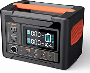 PowerTitan 300 Portable Power Station, 288Wh Solar Generator Backup Lithium Battery, 110V/300W Pure Sine Wave AC Outlets, Compatible with Solar Panels for Outdoors, Camping, Travel, Outdoor Advanture,CPAP Emergency