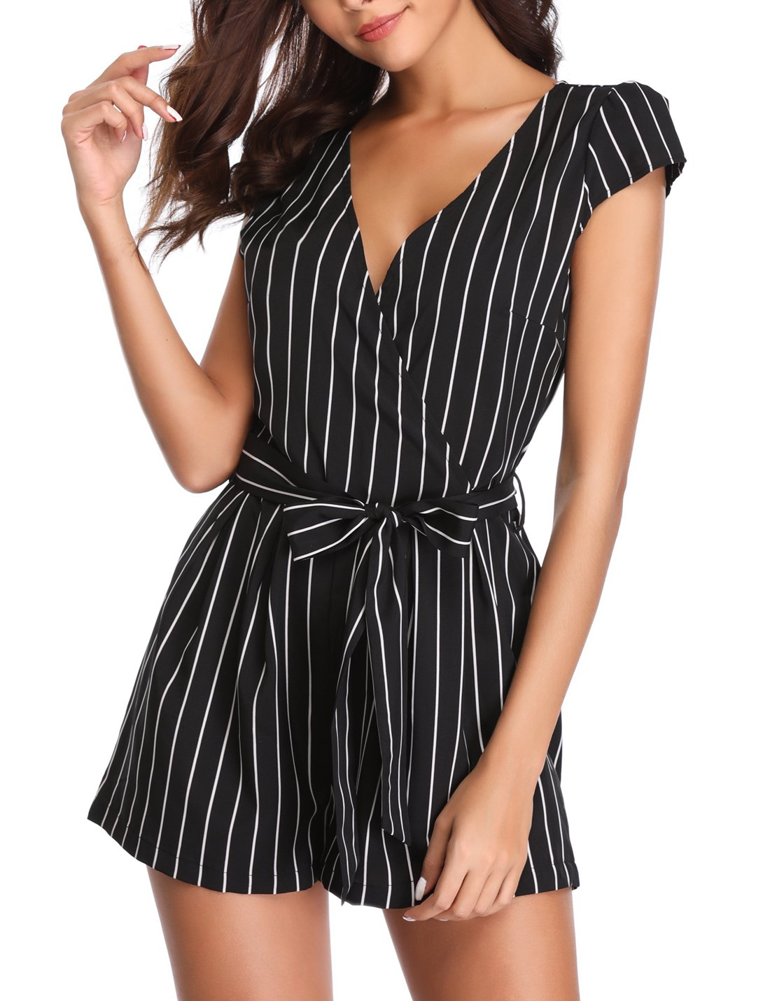 MISS MOLY Summer Rompers for Women Deep V Neck Sexy Short Sleeves Striped Casual Sexy Shorts Jumpsuit Beach/Party
