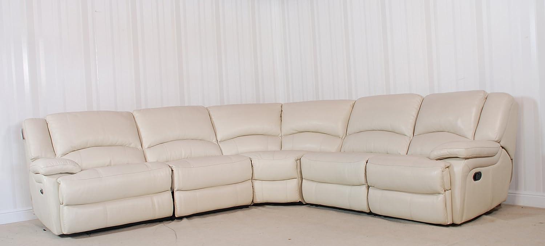 5 piezas de piel color blanco sofá de esquina (113): Amazon ...
