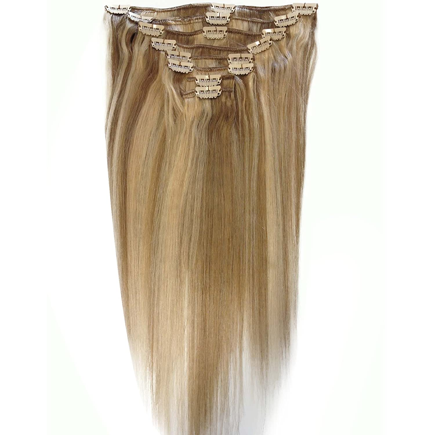 Amazon 14 Inch Brown Blonde 18613 Full Head Clip In Human