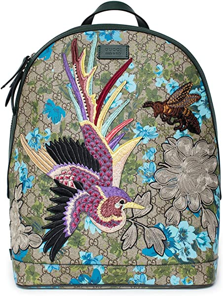 438deab770e7a5 Gucci XL GG Floral Print Backpack Bag Leather Spring Embroidery Bird Italy  New: Amazon.co.uk: Shoes & Bags