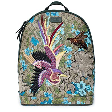 Gucci XL GG Floral Print Backpack Bag Leather Spring Embroidery Bird Italy  New 096993db0ed07