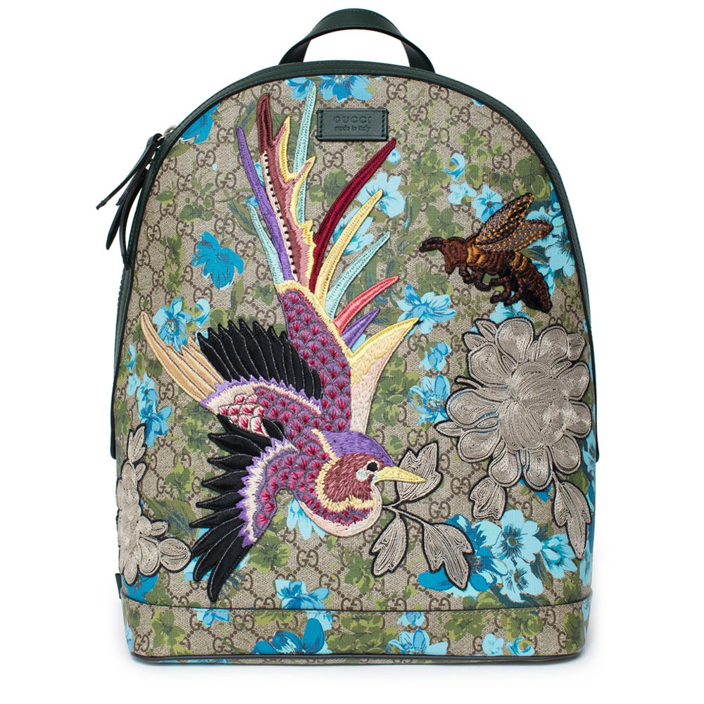 0119cbbce26645 Gucci XL GG Floral Print Backpack Bag Leather Spring Embroidery Bird ...