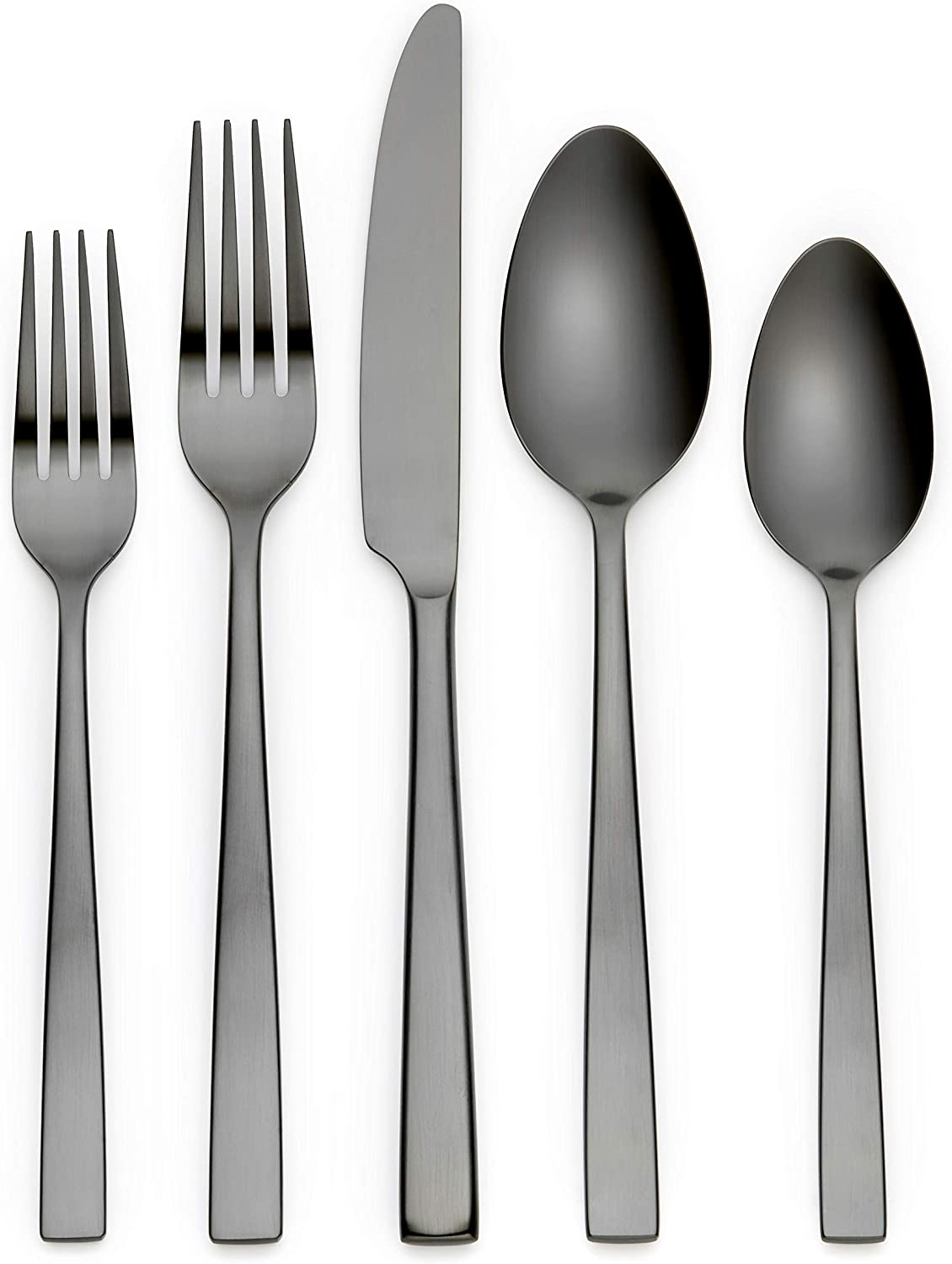 Kathryn Silver 20-Piece Flatware Set, Service for 4 (Matte Black)