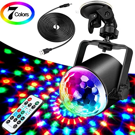 Sound Activated 3W RGB LED with USB Charging Cable and Remote Disco Lights