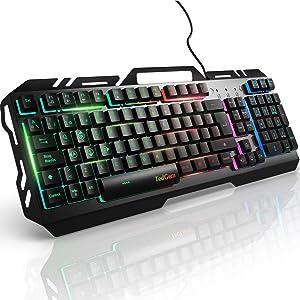 Teclados Gaming, TedGem Teclado Gaming, Teclado USB, Teclado Gaming PS4 LED Retroiluminado con Cable USB, Teclado para PC / Laptop / PS4 / Xbox One (Teclados Español, Negro)