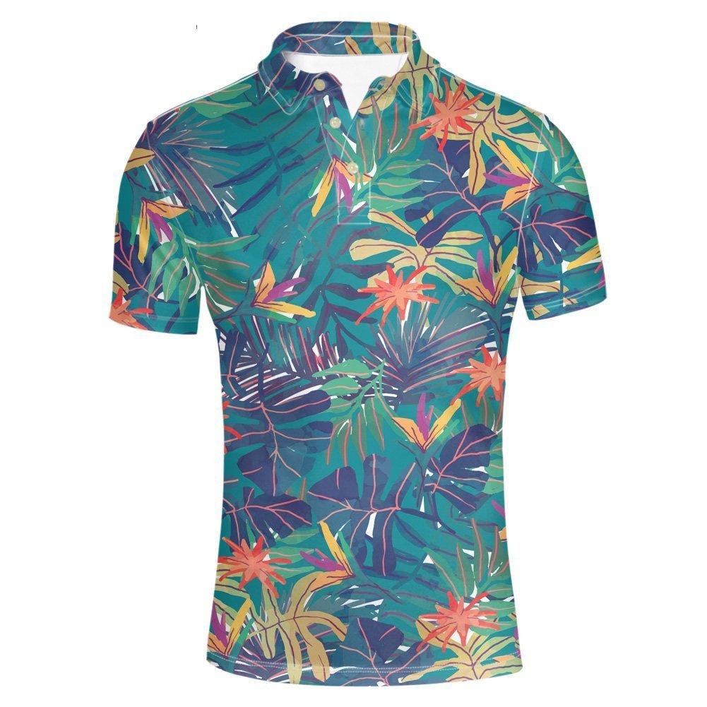 HUGS IDEA Men's Peerformance Jersey Polos Shirt Hawaiian Short Sleeve Leaves Pattern T-Shirts Breathable Athletic Sport Tee