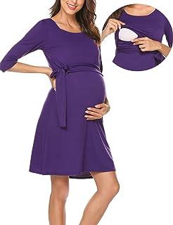Romanstii Damen Umstandskleid Maternity Schwangerschafts- und Still-Kleid  Mit 3 4 Ärmel Lagendesign 04e274e1a1