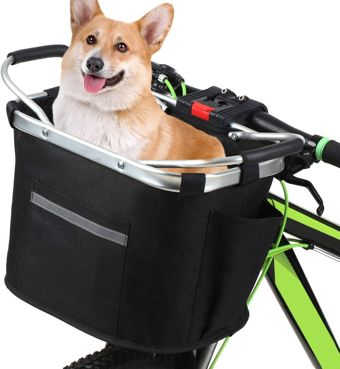 Folding Small Pet Cat Dog Carrier Front Handlebar Basket for Most Mountain Bikes and Bicycles Easy Install Quick Released Picnic Shopping Bag Bike Basket Detachable Bicycle Basket
