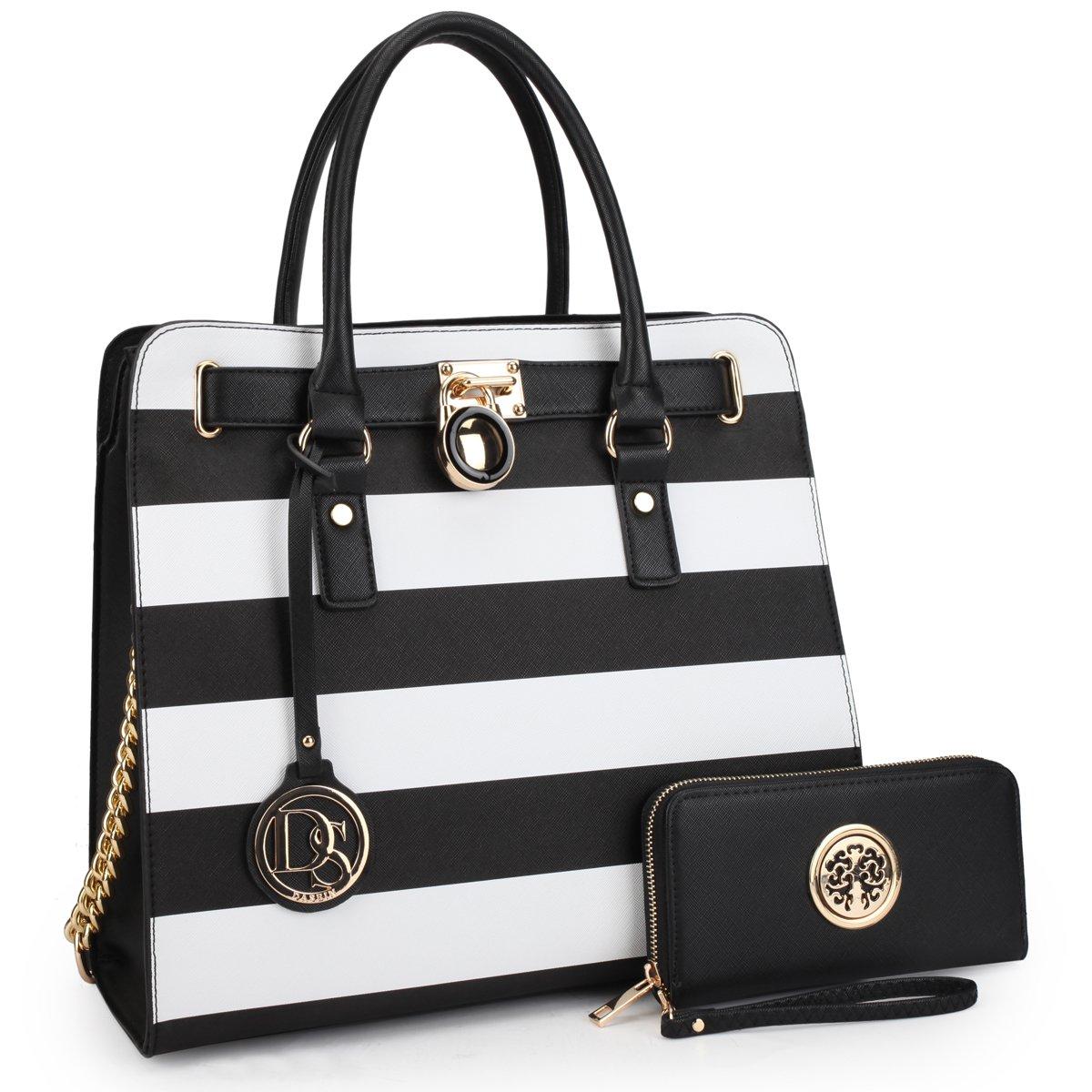 DASEIN Fashion Top Belted Tote Satchel Designer Padlock Handbag Shoulder Bag for Women (2553w-Black Stripe)