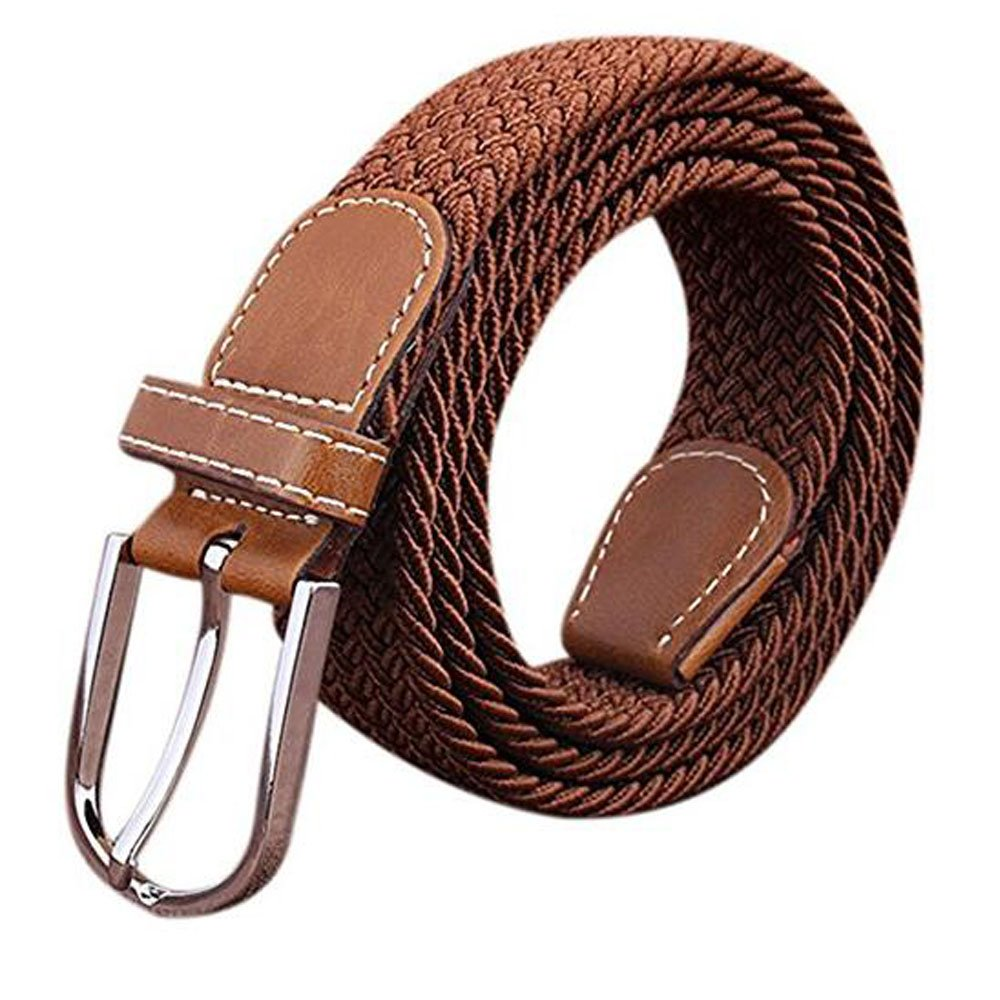KINDOYO Canvas Stretch Elasticated Woven Belts for Men Women Many Colours Available Beige