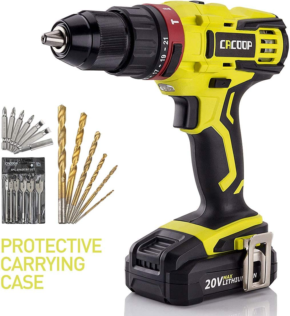 CACOOP 20V Hammer Drill Driver set, two-Speed, inch All-Metal Chuck, Included one pc 2.0Ah Li-Ion battery,one rapid charger, wood drill bits, screwdriver Bits and Magnetic Bit Holder Hammerdrill