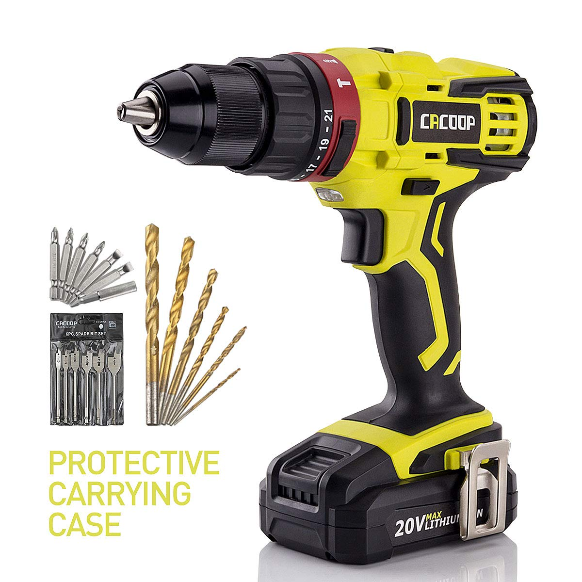 "CACOOP 20V Hammer Drill/Driver set, 2-Speed, ½""All-Metal Chuck, Included 1)2.0Ah Li-Ion battery,1) rapid charger,12) wood drill bits,6) screwdriver Bits & 1) Magnetic Bit Holder (Hammerdrill)"