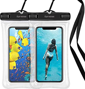 Waterproof Phone Pouch Floating, Karvense Universal Waterproof Phone Case/Bag Floating, Clear Underwater Cell Phone Dry Bag, for iPhone, Samsung Galaxy, LG, Moto, Pixel, Phones up to 6.9''– 2 Pack