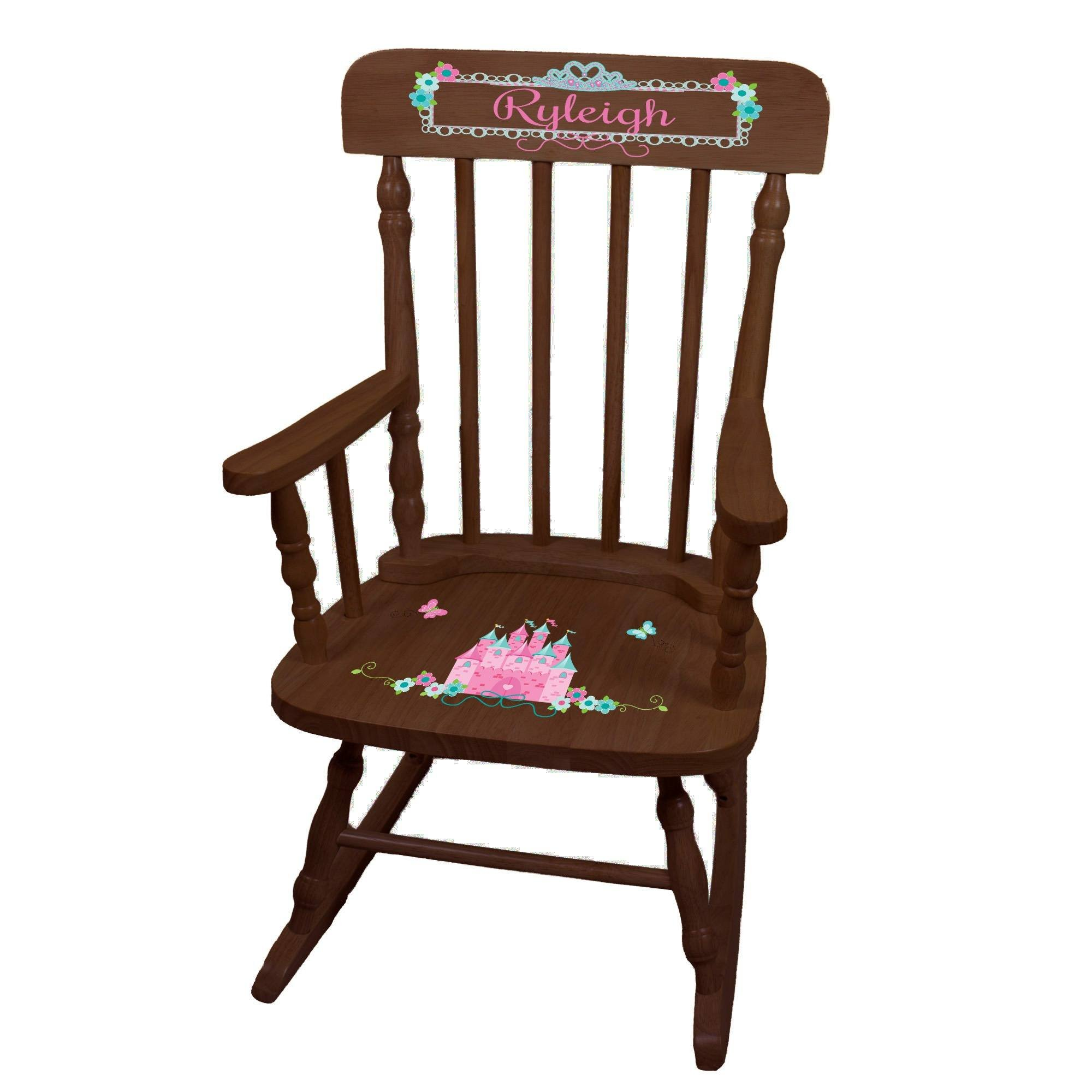 MyBambino Personalized Pink Teal Princess Castle Espresso Childrens Rocking Chair