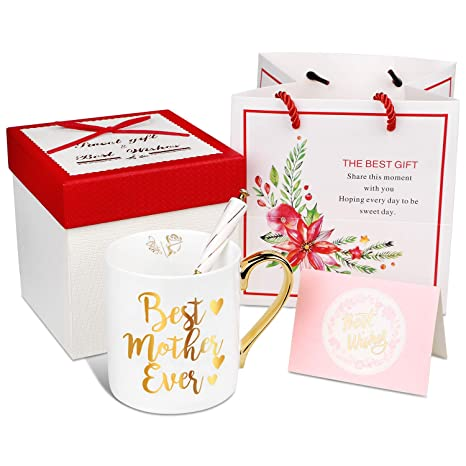 Best Mother Ever Engraved Gold Bone China Coffee Mug With Gold Handle Free Gift Box And Gift Bag Free Spoon Best Christmas And Birthday Mother S