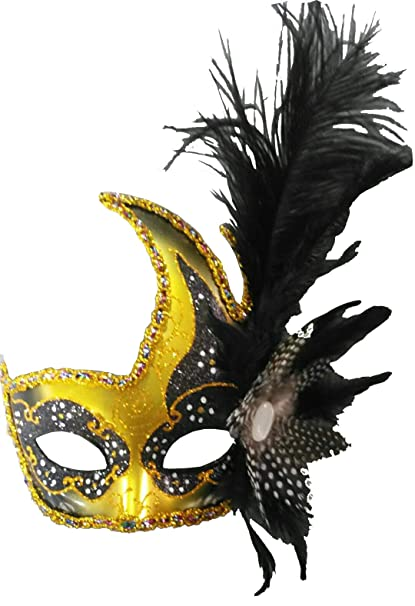 781c22c47c27 Amazon.com: Costume Mask Feather Masquerade Mask Halloween Mardi Gras  Cosplay Party Masque (Black): Toys & Games