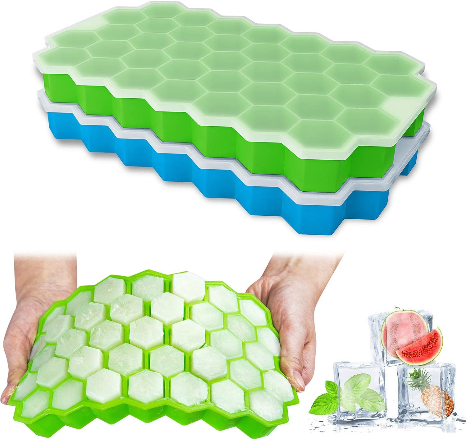 Ice Cube Trays, Ouddy 2 Pack Silicone Ice Cube Molds with Removable Lid, Totally 74-Ice Trays for Whiskey, Cocktail, Stackable Flexible - Green+Blue