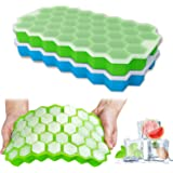 Ice Cube Trays, Ouddy 2 Pack Silicone Ice Cube Molds with Removable Lid, Totally 74-Ice Trays for Whiskey, Cocktail, Stackabl