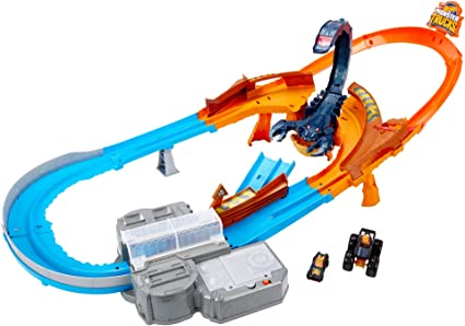 Hot Wheels Monster Trucks Escorpión súper impulso, pistas de coches de juguete (Mattel GNB05)