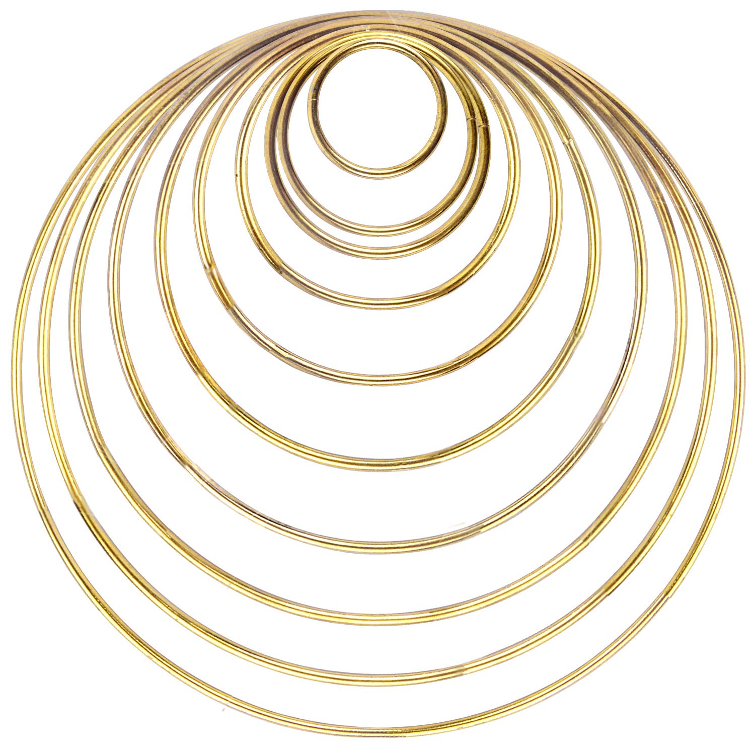 BronaGrand 10 Pieces Metal Rings Craft Metal Hoops Macrame Rings for Dream Catcher and Crafts, 10 Sizes(Gold)