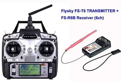 Amazon.com: Flysky FS T6 6Ch Transmitter with R6B Receiver ...