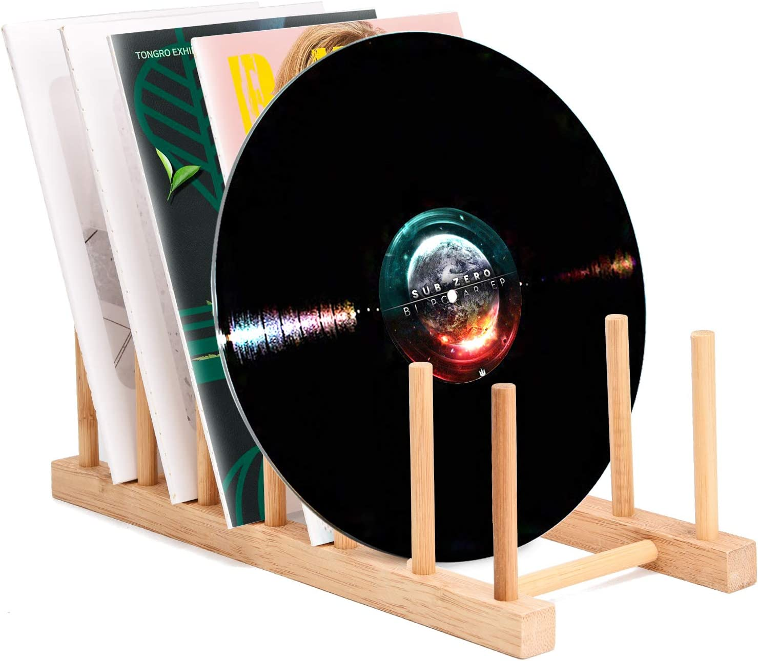 "Vinyl Record Storage Holder Stand Rack Eco Friendly Wooden CD Display Stand, Stackable Modern CD Holder Portable Countertop Desktop Magazine Rack iPad Stand Record Storage Shelf - for 12"" and 7"" Recor"