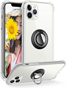 DAUPIN Ring Holder Series Designed for iPhone 12 Pro Max Case, Clear Protective Cover Work with Magnetic Car Phone Mount (Clear)