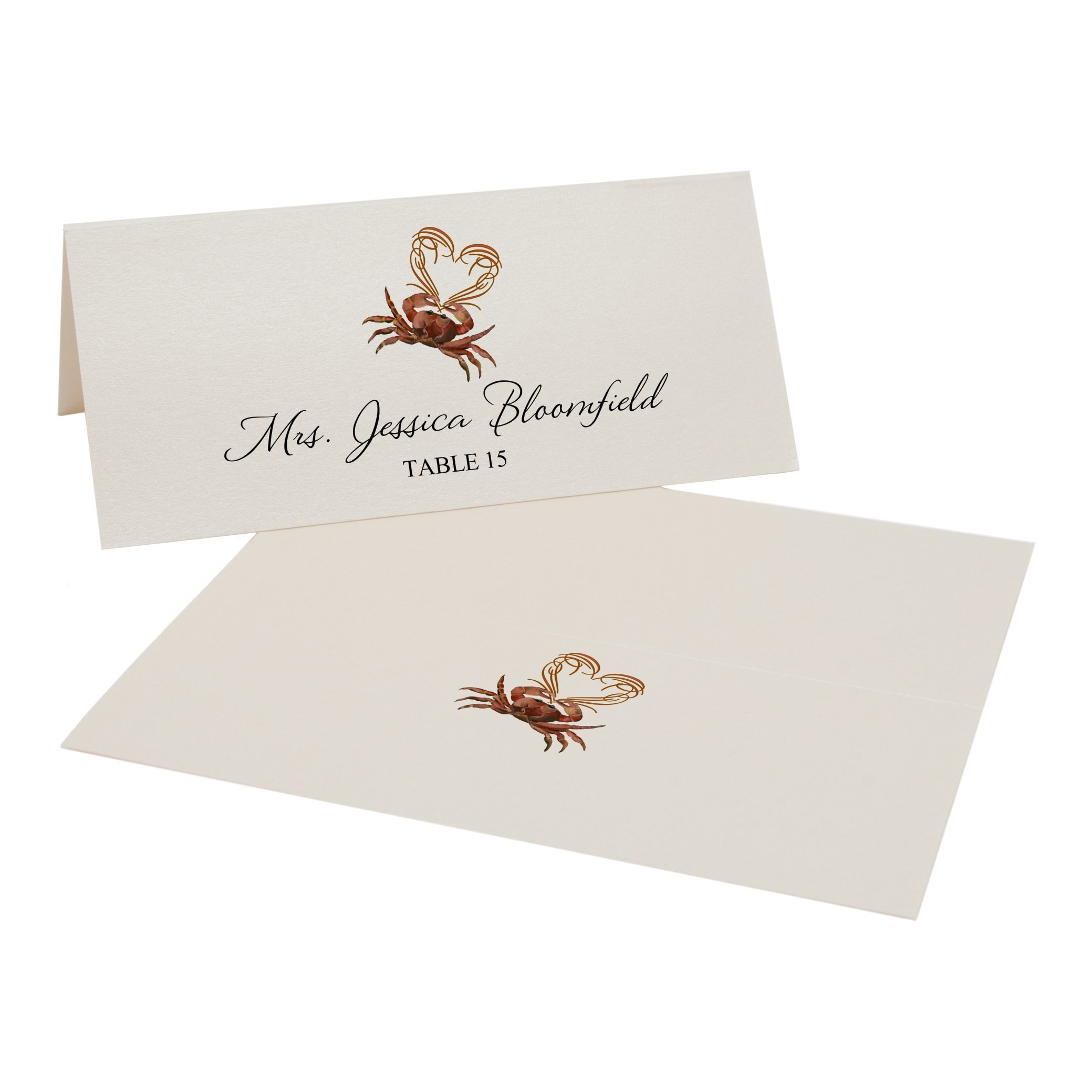 Crab and Heart Place Cards, Champagne, Set of 375