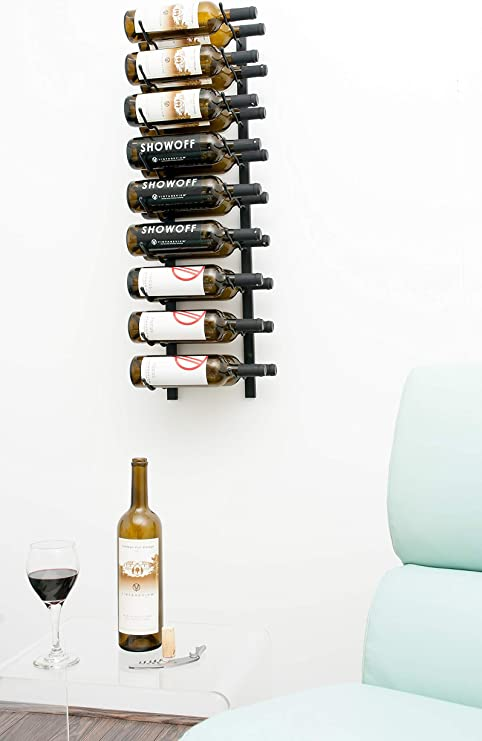 Amazon Com Vintageview W Series 3 Ft 18 Bottle Wall Mounted Wine Rack Satin Black Stylish Modern Wine Storage With Label Forward Design Kitchen Dining