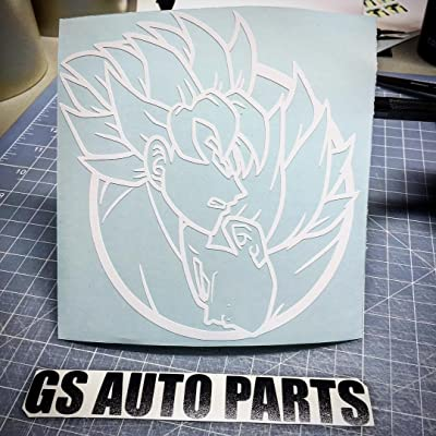 "G.S. AUTO PARTS Dragon Ball Z DBZ Goku & Vegeta Anime Ying Yang Inspired Vinyl Decal Stickers (6"", White): Automotive"
