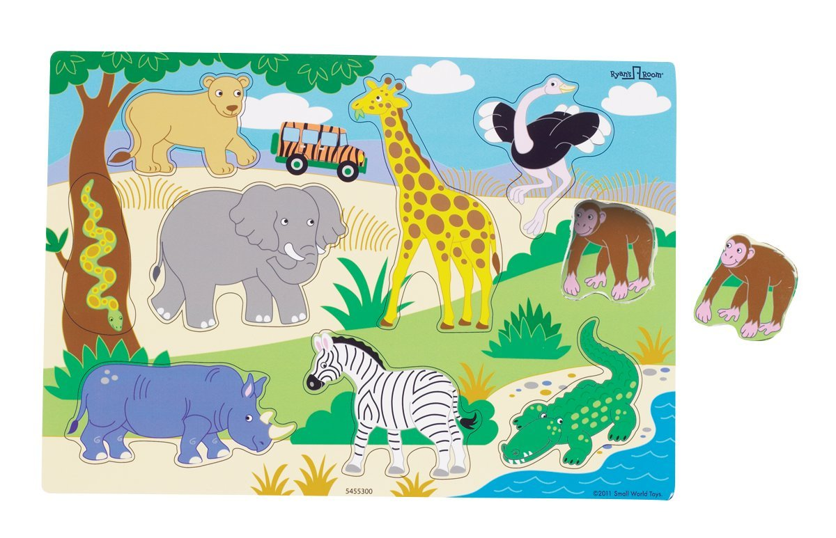 Ryans Room Small World Toys Wooden Puzzle  Rainforest
