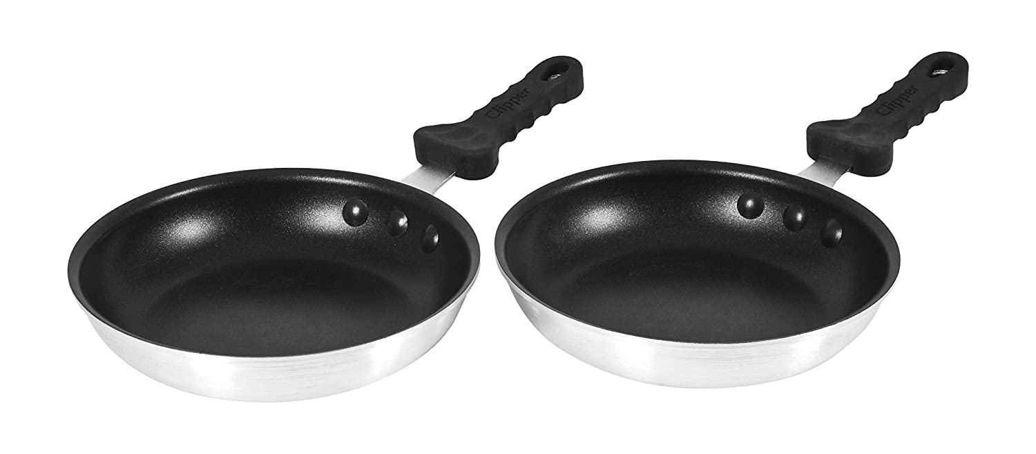 2 pack - 8 inch Commercial Non-Stick Fry Pans w/Ergo Silicone Grip Clipper Commercial 315-90123