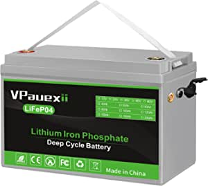 VPauexii 12V 100Ah Lithium Iron Phosphate Battery LiFePO4, with BMS, Suitable for Automobiles, Medical Equipment, Electric Bicycles, Car Refrigerators, RVs, More Than 7000 Deep Cycles