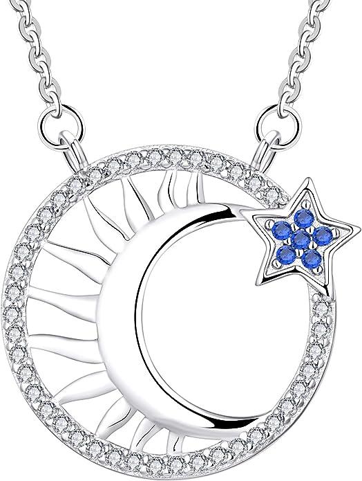 Sun Moon Necklace-925 Silver Necklace-Crescent Necklace-Ladies Necklace-Mini Necklace-Charm Necklace