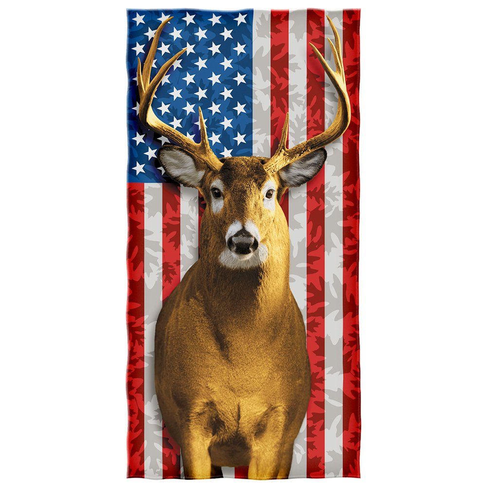 American Whitetail Deer Cotton Beach Towel by Dawhud Direct