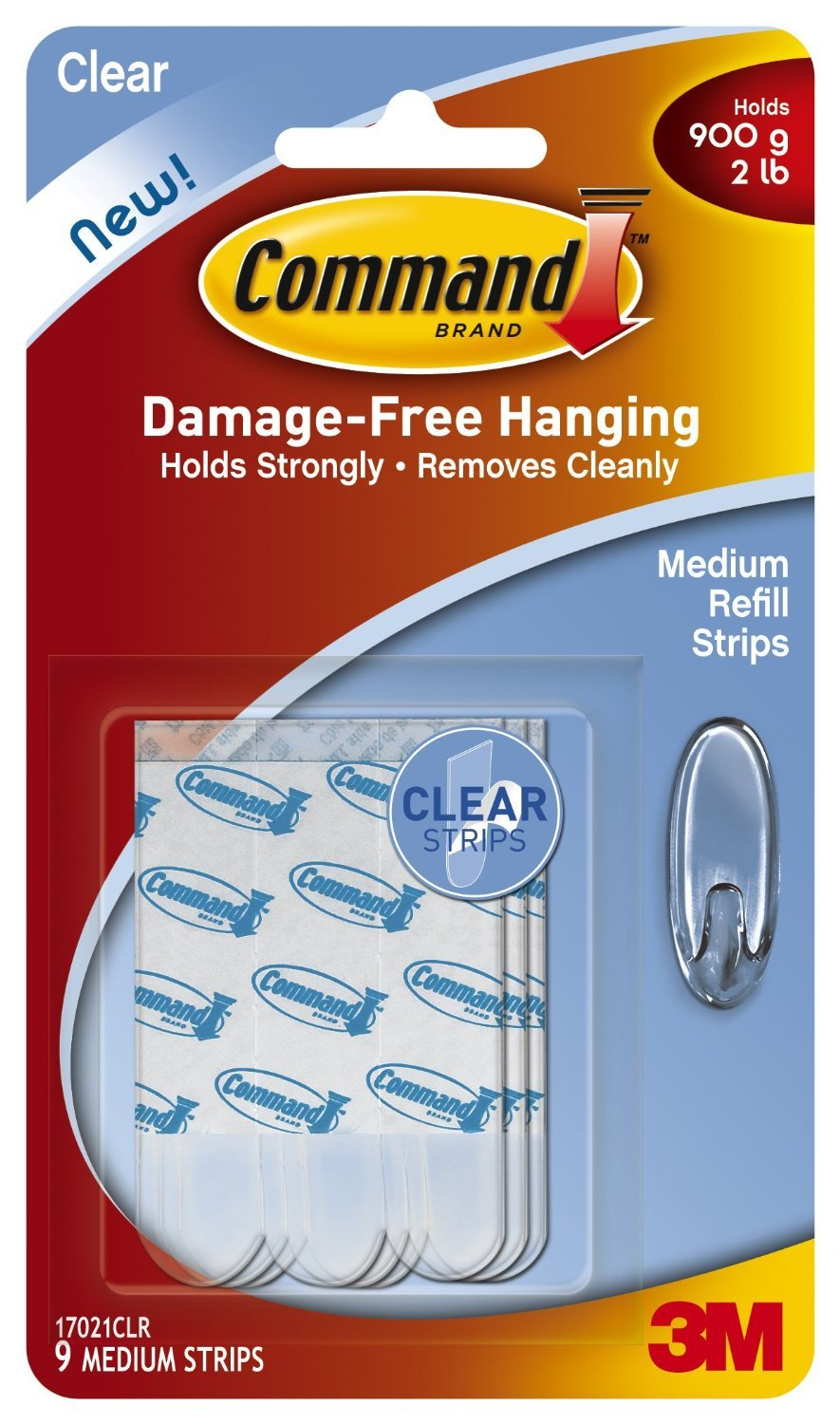 Command Medium Refill Strips, Clear, 9-Strip, 3-PACK