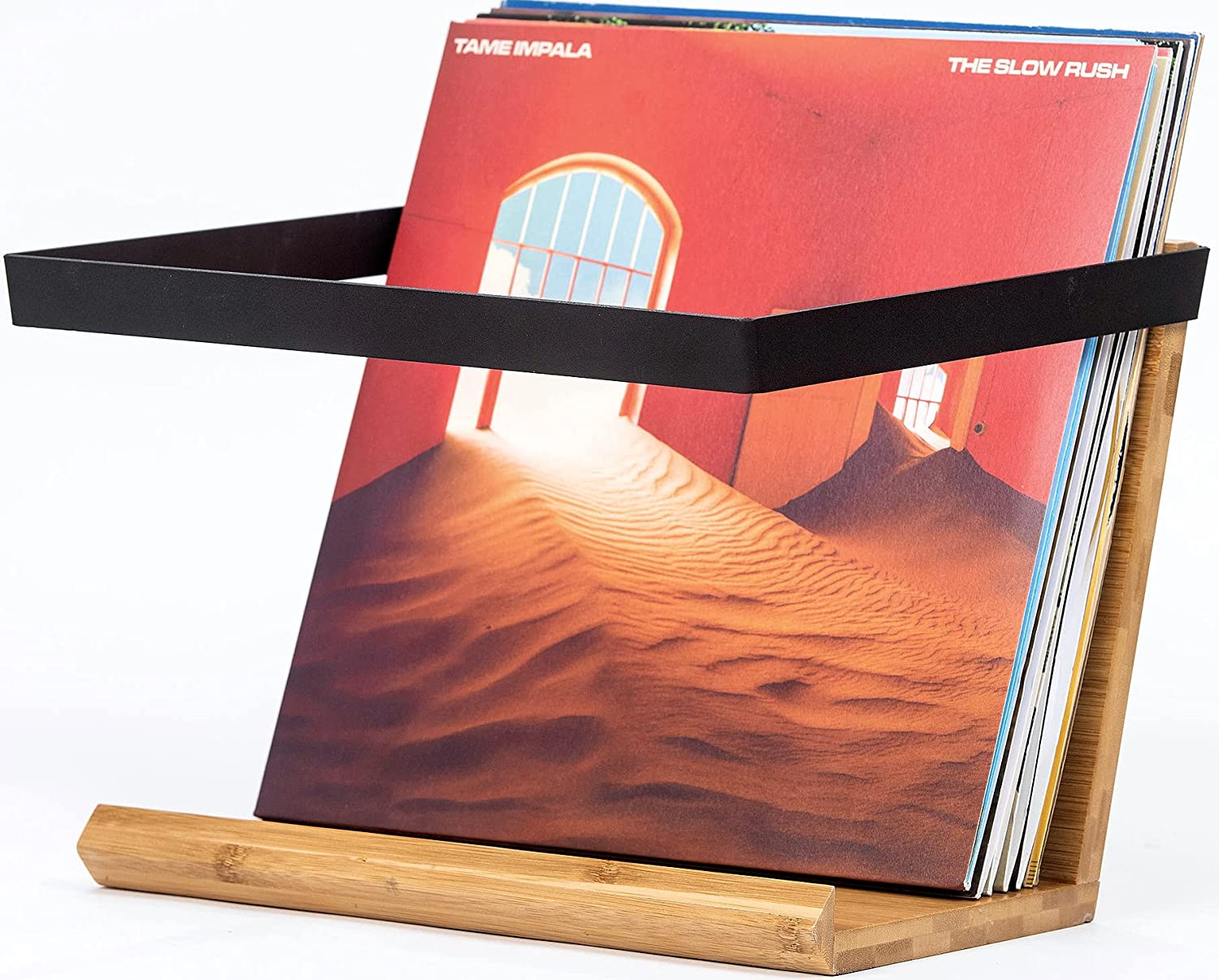 Vinyl Record Storage Display – Modern Exotic Album Storage Rack and Display Stand – Great for Bookshelves with Room for 33 Records or Your Favorite Books by the SalCo Family Company, 11x12.75x9.4 in.