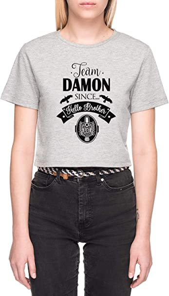 Team Damon Since Hello Brother Gris Camiseta de Crop Mujer Manga Corta Grey Crop T-Shirt Womens: Amazon.es: Ropa y accesorios