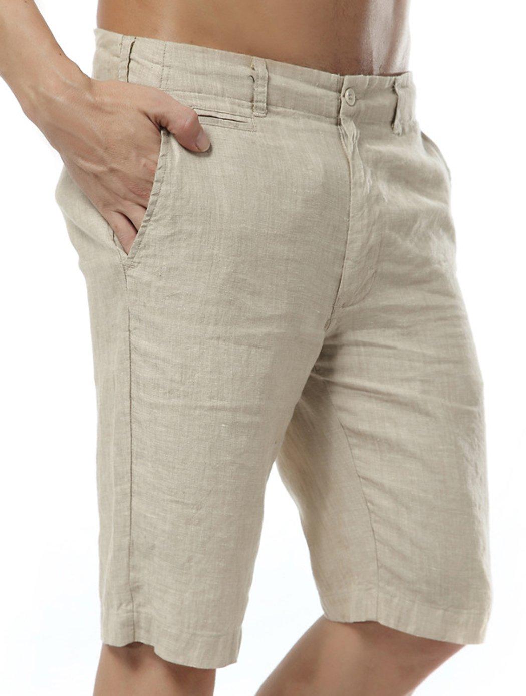 utcoco Men's Summer Straight Fit Flat-Front Linen Shorts (Medium, Khaki) by utcoco (Image #3)