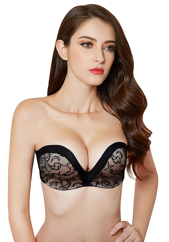 c7f1a7ae84 DotVol Women Hand Shape Custom Lift Invisible Strapless Wirefree Anti-Slip  Bra at Amazon Women s Clothing store